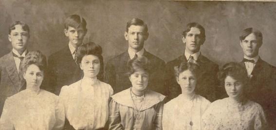 Berten B Bean, far right with his classmates