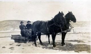 Charles and Ella Karr on sleighride