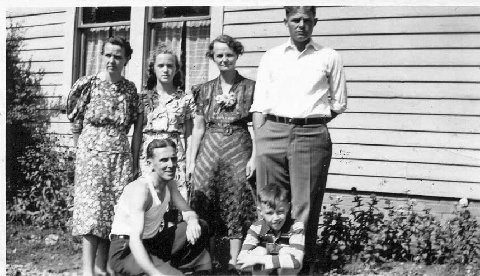 20 - Standing: Luella Westlake, daughter Carolyn, mother Ione Wright and brother George Wright. Front: Melvin Westlake and son Johnnie. Circa 1936