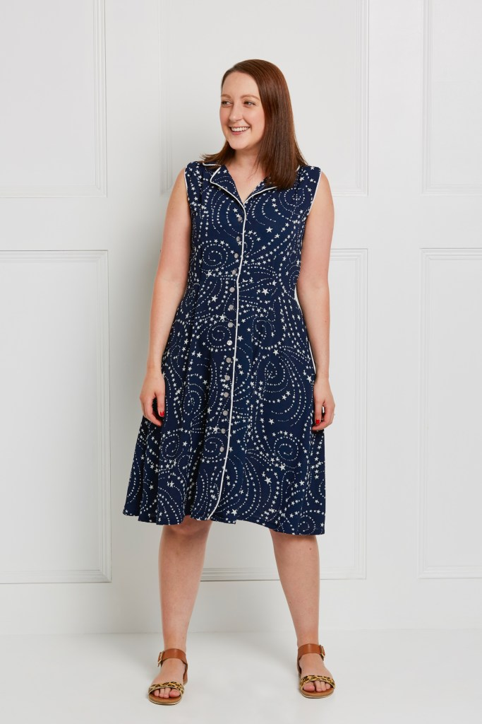 Almond rock sew over it vintage shirtdress so sew english Georgette piping navy stars dress sewing pattern