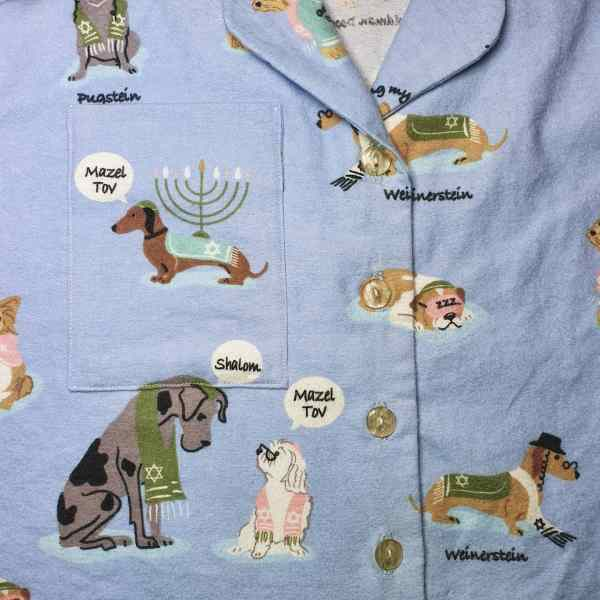 Almondrock dressmaking sewing m6659 McCall's 6659 and Closet Core Carolyn Pyjamas in Hanukkah dogs brushed cotton from The Fabric Guys