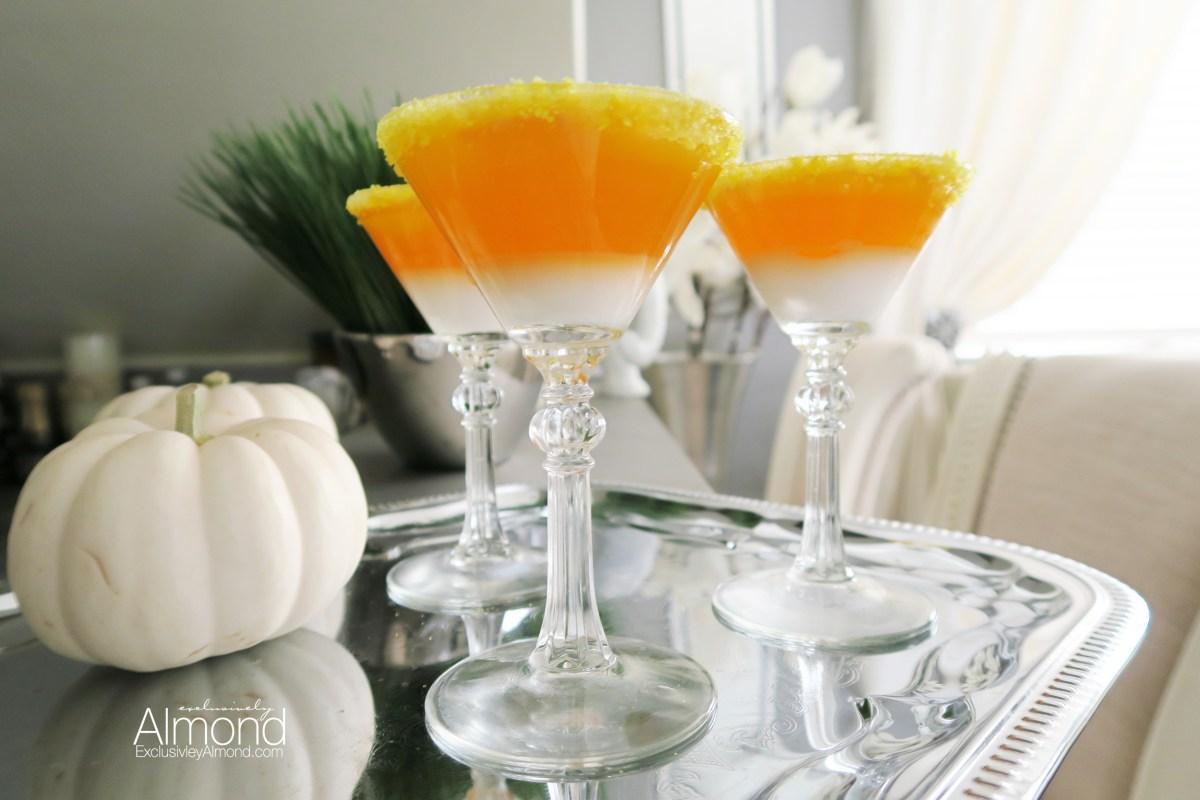Candy corn jello shot martini's