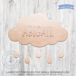 This adorable vector file features a cloud with rain drops ready to cut on your laser cutter or CNC machine. Personalize with your nursery name and paint or stain to your liking.