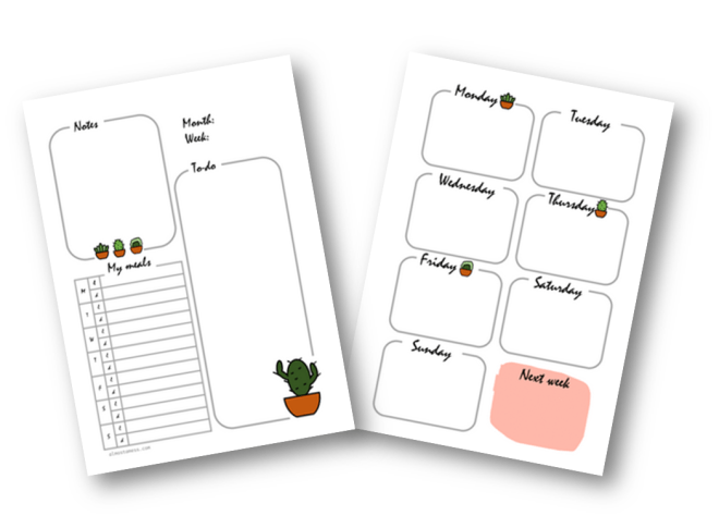 Free weekly spread printable - Almost a mess