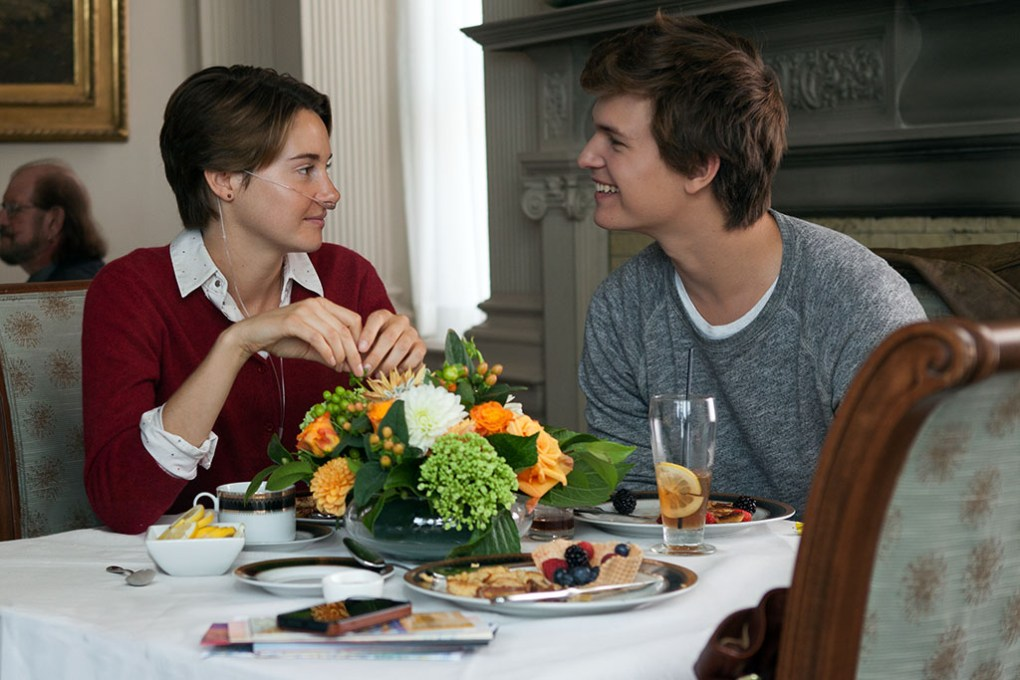 The Fault in Our Stars (2014) film still of Hazel and Gus eating breakfast in their hotel