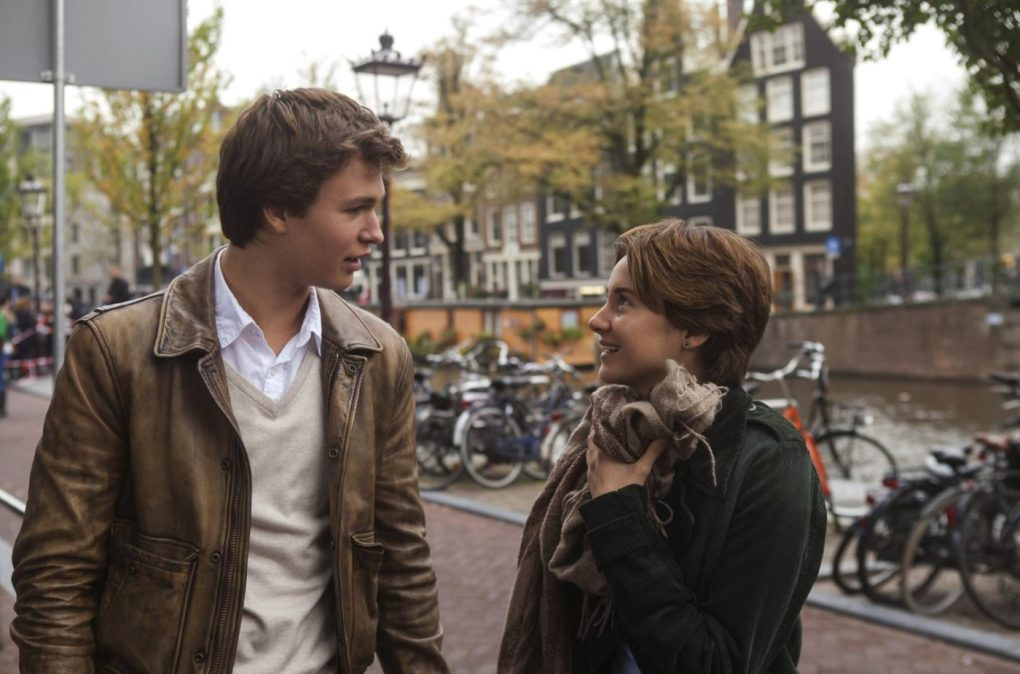 The Fault in Our Stars (2014) film still of Gus and Hazel outside the Anne Frank House in Amsterdam