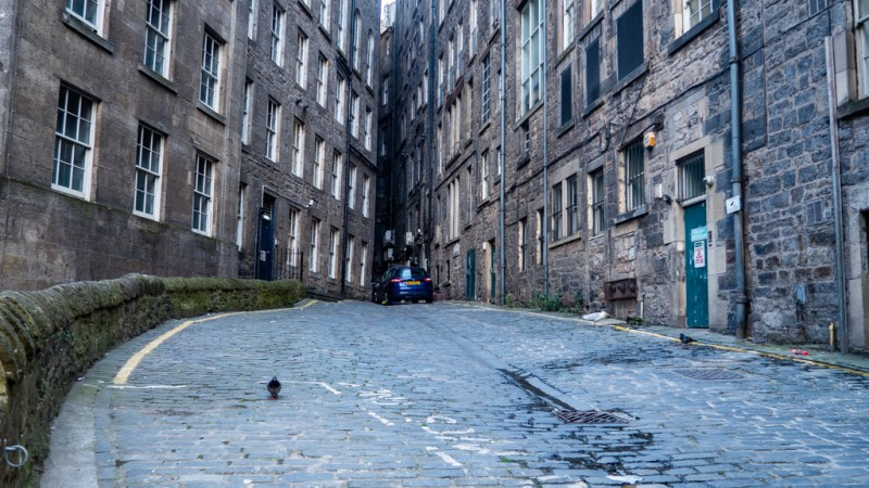 Car park next to Calton Road in Edinburgh which is a Trainspotting film location