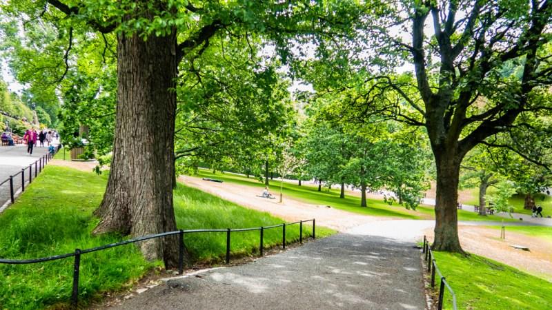 Princes Street Gardens in Edinburgh, UK