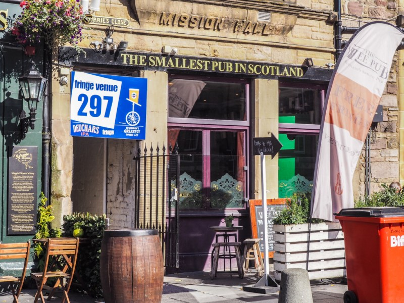 Venue in The Smallest Pub in Scotland during the Edinburgh Fringe Festival in Scotland, UK