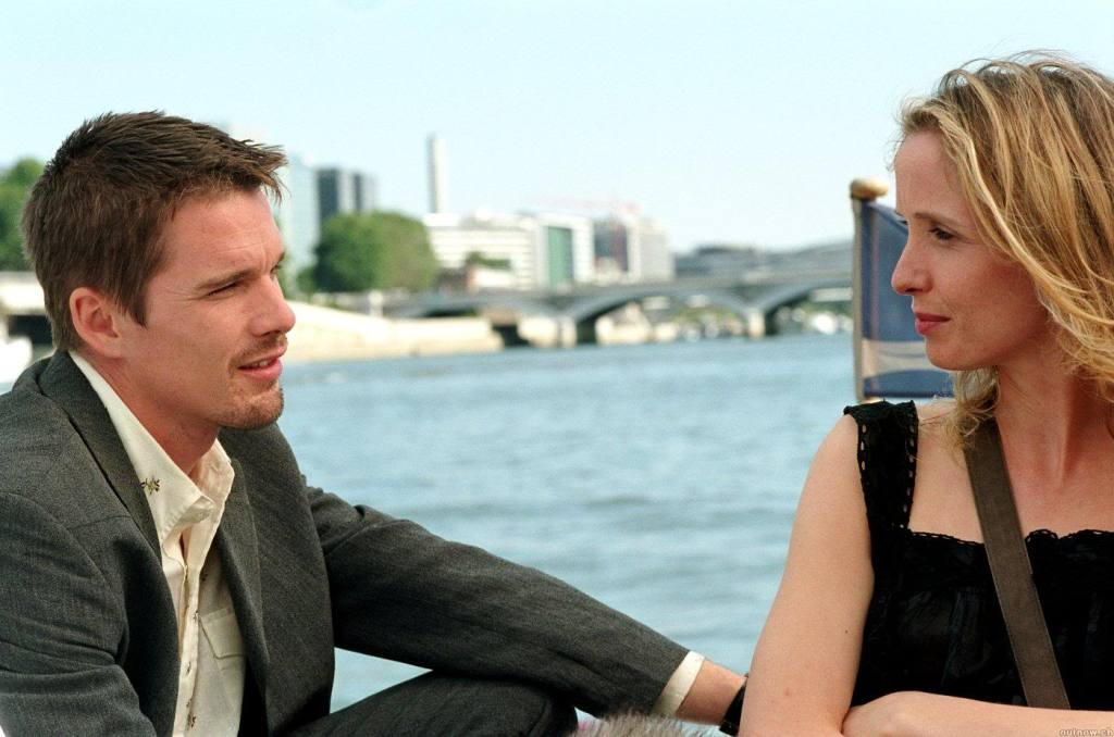 Before Sunset (2004) film still of Jesse and Celine on a Seine boat cruise