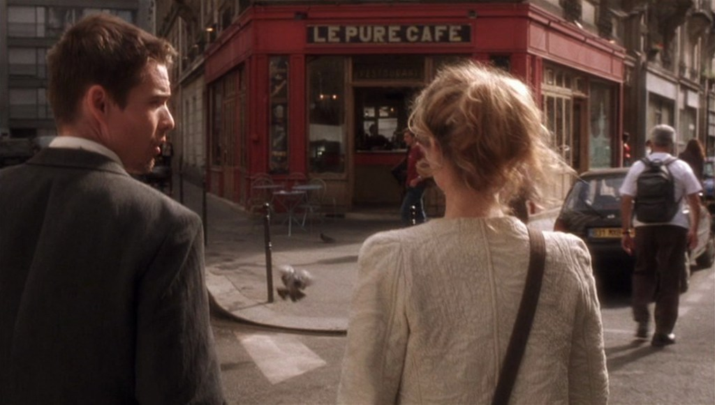 Before Sunset (2004) film still of Celine and Jesse outside Le Pure Cafe in Paris