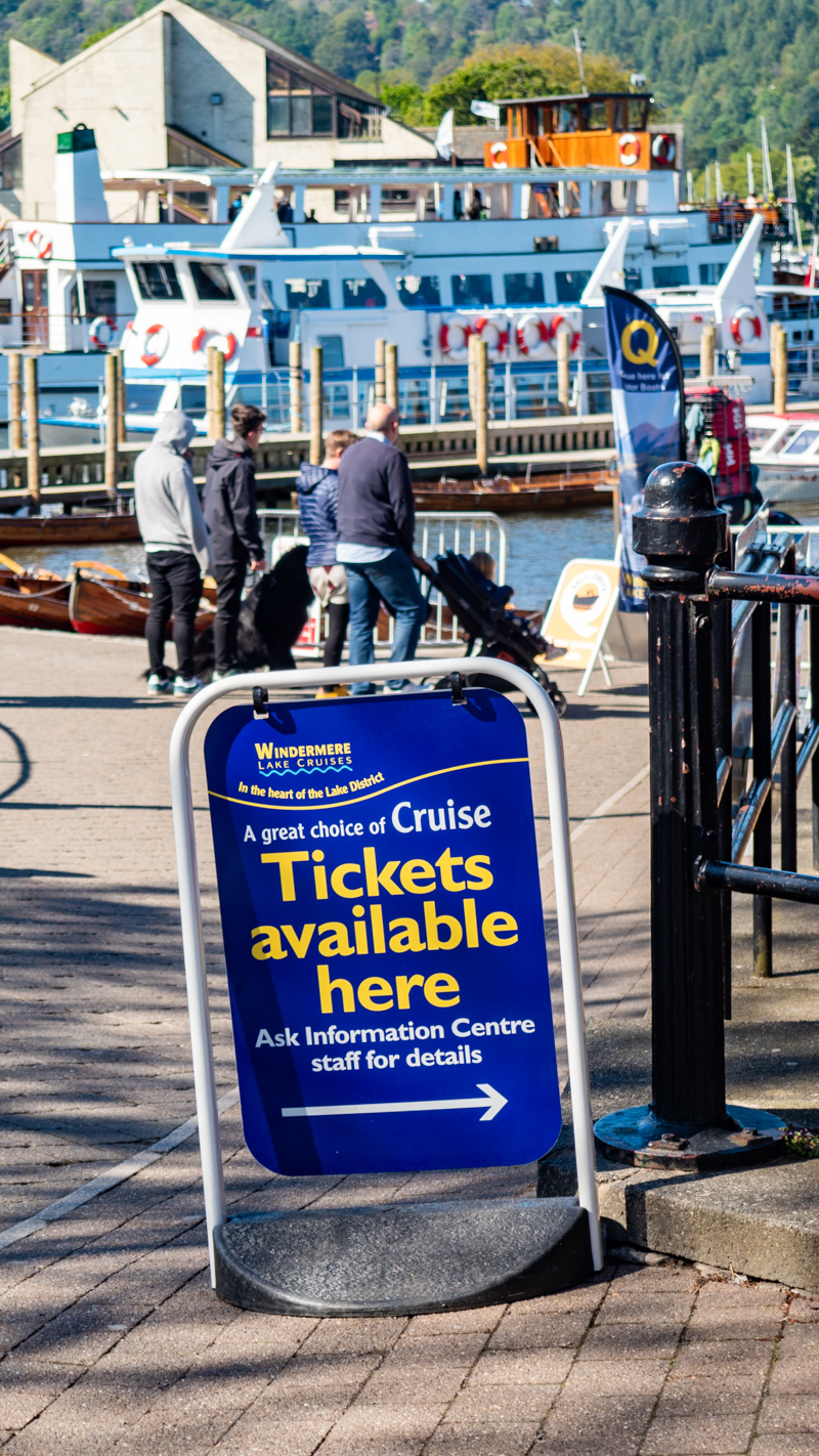 Ticket sign for Windermere Lake Cruises in Bowness-On-Windermere in the Lake District, UK
