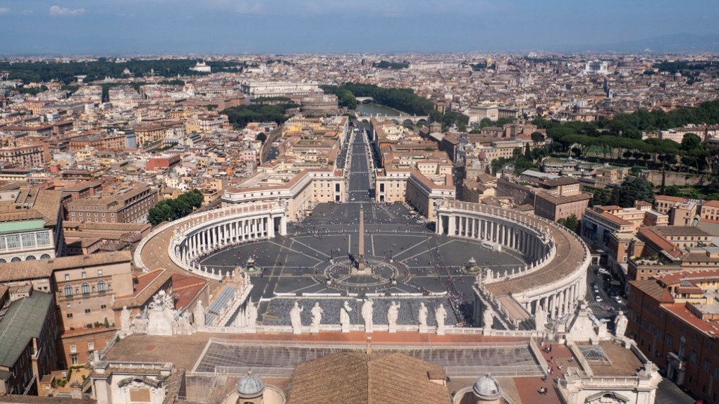 View of St Peter's Square from St Peter's Basilica Dome in Vatican City, Rome, Italy