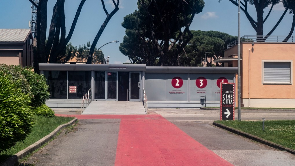 Exhibition building at Cinecittà studio tour and film museum in Rome, Italy