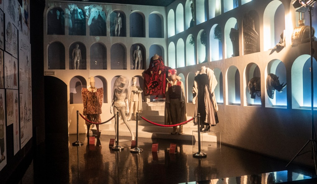 Fellini costume exhibition at Cinecittà studio tour and film museum in Rome, Italy