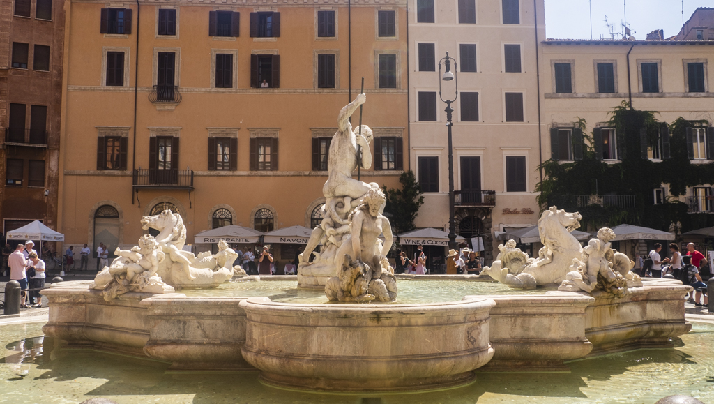 The Fountain of the Four Rivers in Piazza Navona, an Angels and Demons filming location in Rome and Vatican City