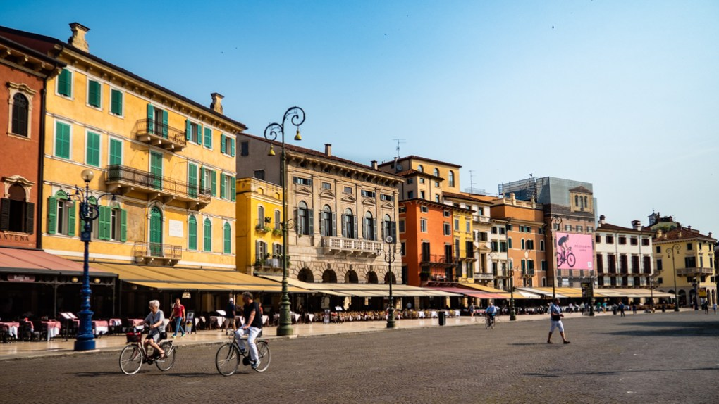 Buildings next to Verona Arena in Verona, Italy, 24 hours in Verona