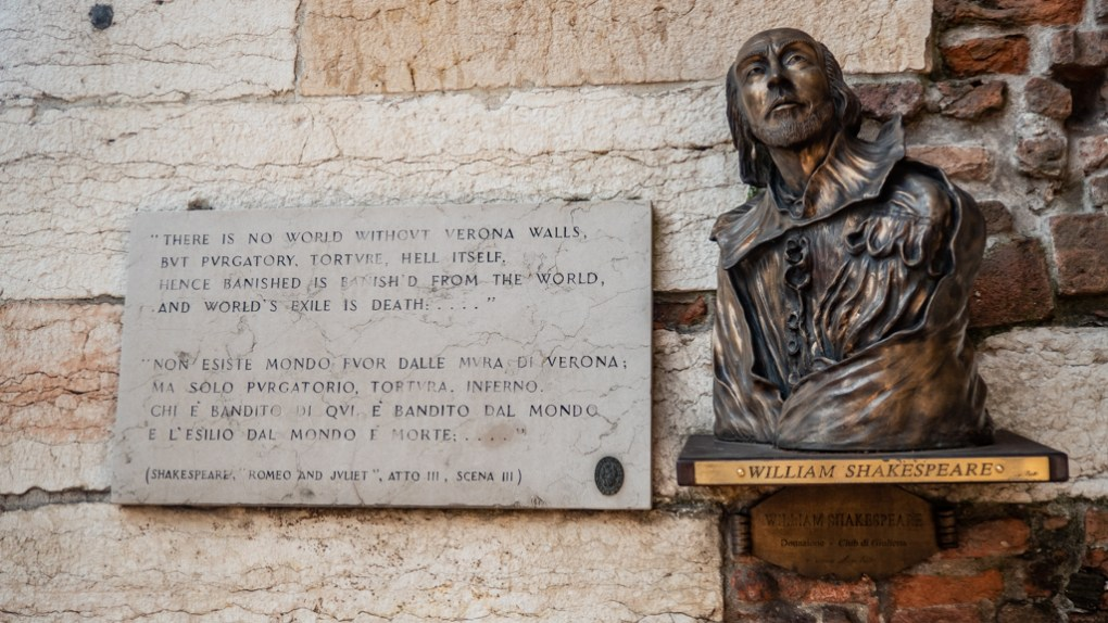 William Shakespeare plaque in Verona, Italy, 24 hours in Verona