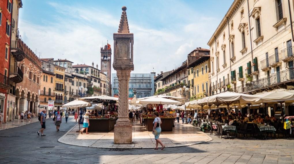 Piazza Delle Erbe in Verona Italy