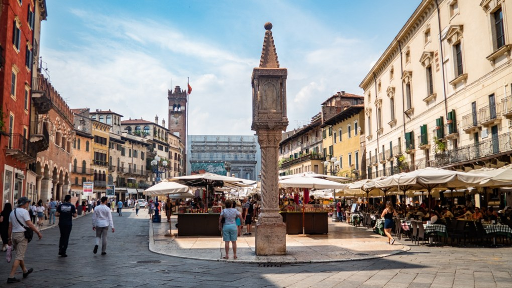 Piazza Delle Erbe in Verona, Italy, where to spend 24 hours in Verona