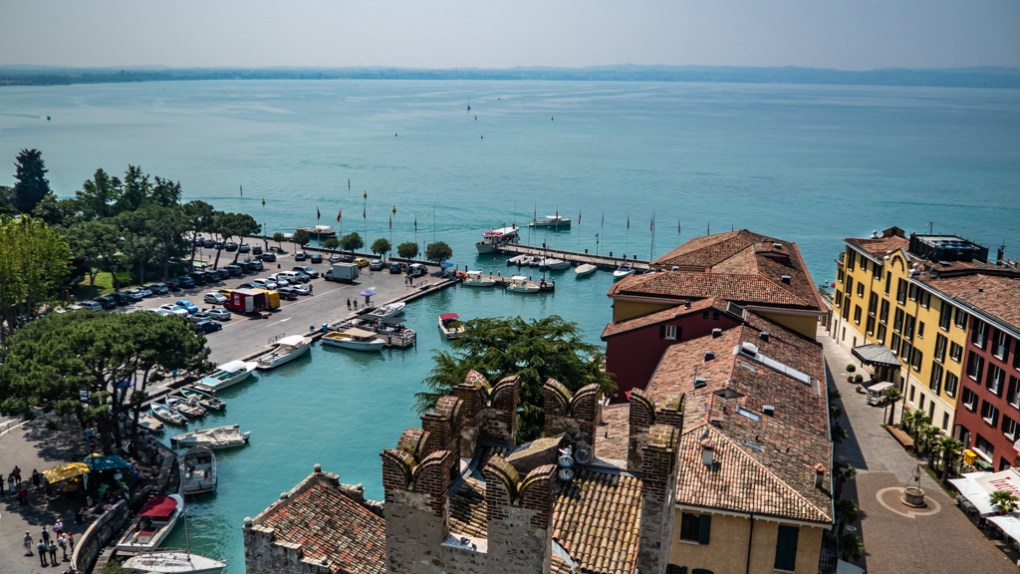 Sirmione port harbour on Lake Garda, Italy
