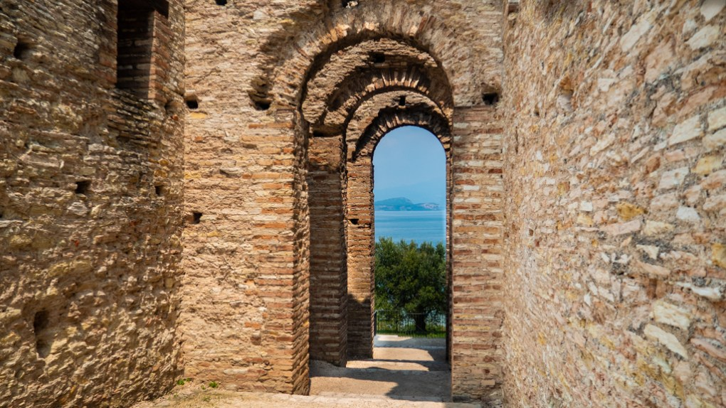 Roman ruins in Grotte di Catullo in Sirmione on Lake Garda, Italy which are a Call Me By Your Name filming location
