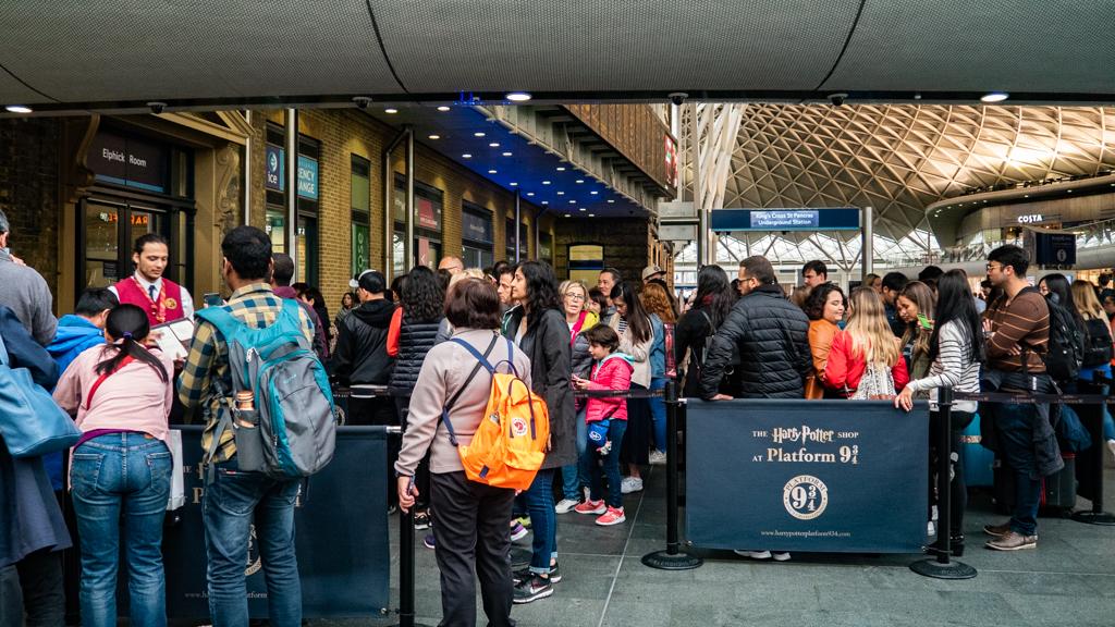 Harry Potter Platform 9 3/4 photo opportunity at King's Cross Station, London