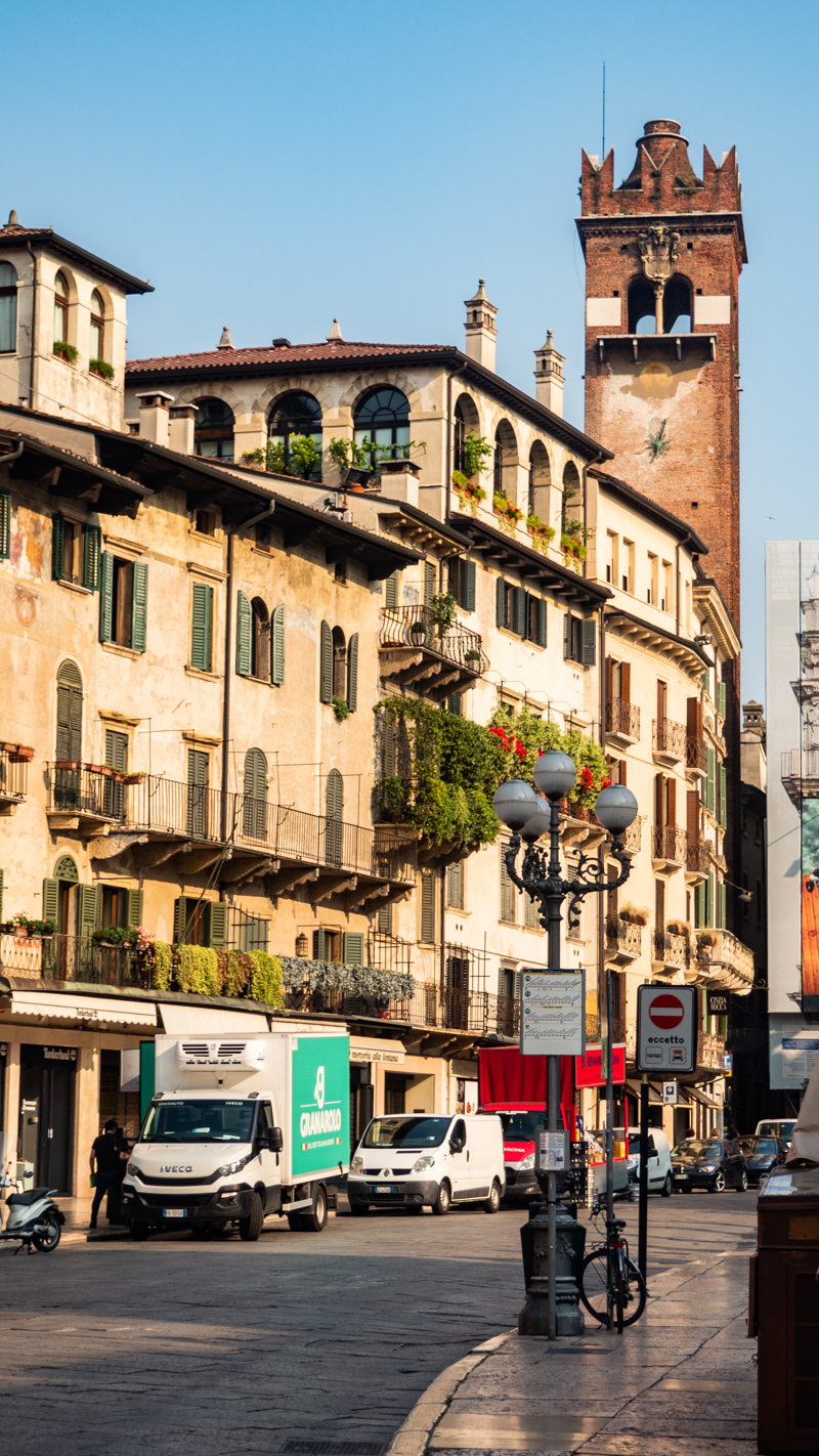 Gardello Tower in Piazza Erbe, Verona in Italy