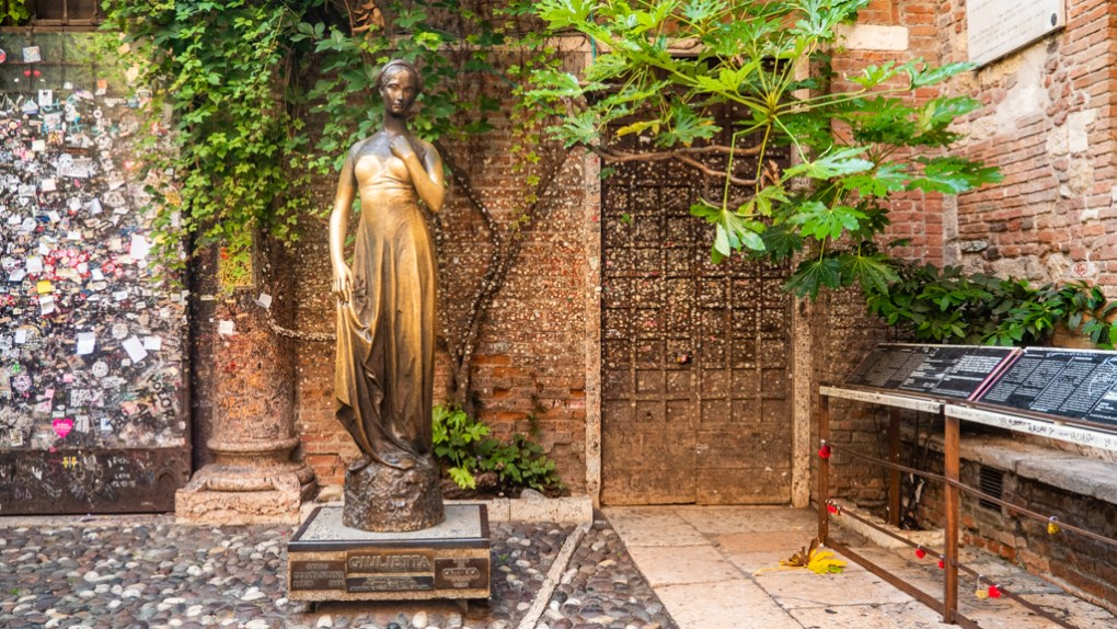 Juliet Statue in the Casa di Giulietta Courtyard in Verona, Italy which is a Letters to Juliet Filming Location