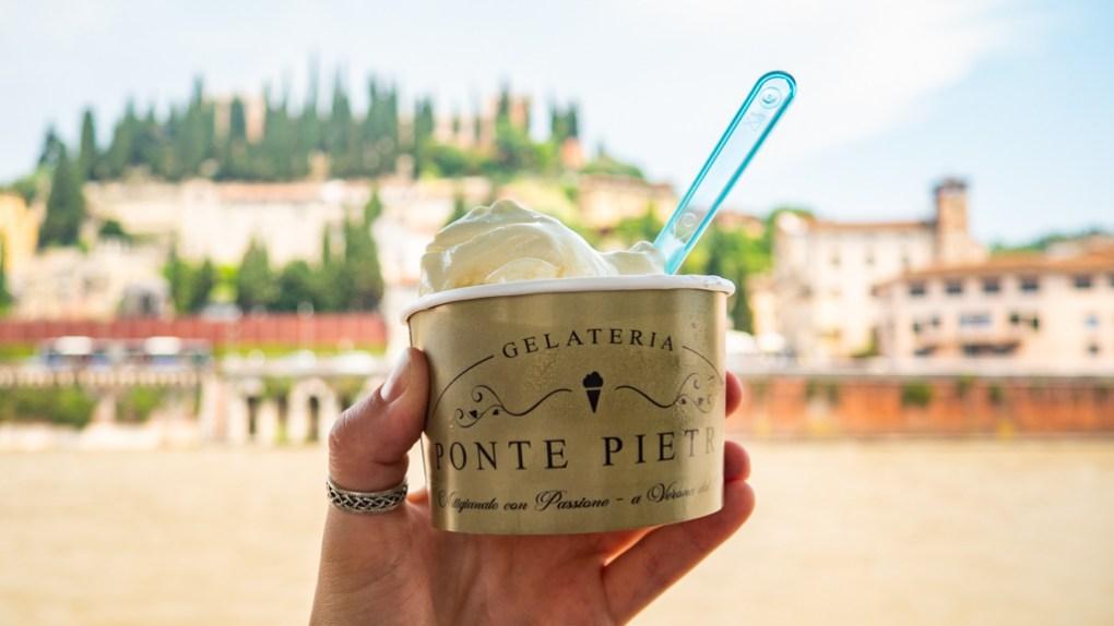 Gelato from Gelataria Ponte Pietra in Verona, Italy