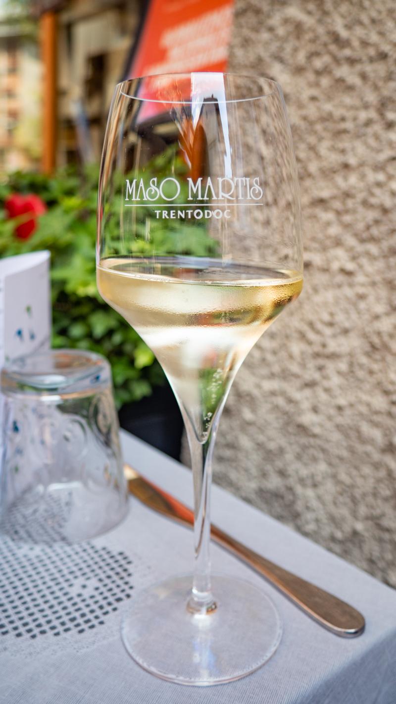 Sparkling white wine in Trento Italy