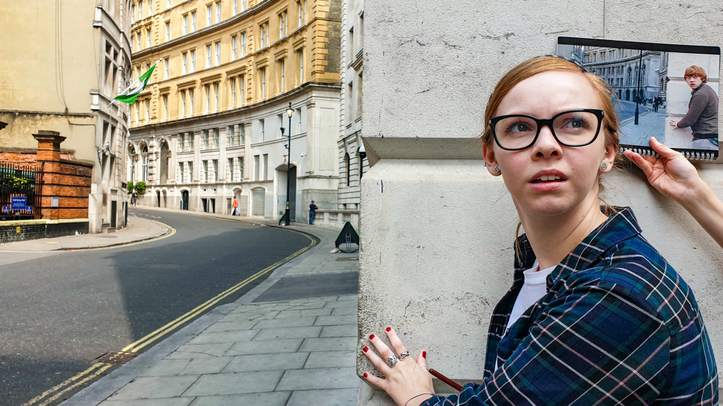 Almost Ginger blog owner at Corner of Scotland Place and Great Scotland Yard, London on a Birt Movie Tour Harry Potter Walking Tour