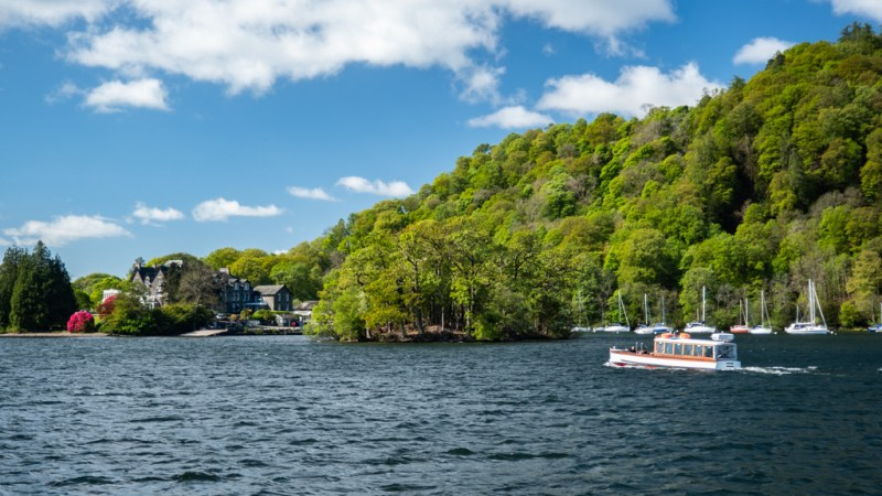 Island on Lake Windermere in Bowness-On-Windermere in the Lake District, UK