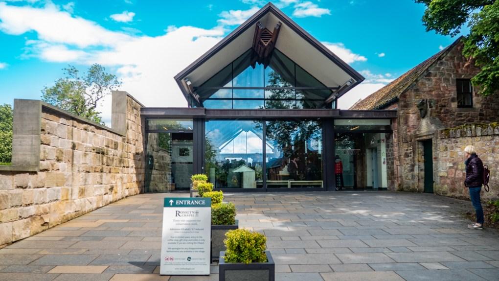 Visitors entrance to Rosslyn Chapel in Edinburgh, UK