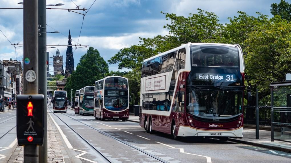 Lothian buses on Princes Street in Edinburgh, UK