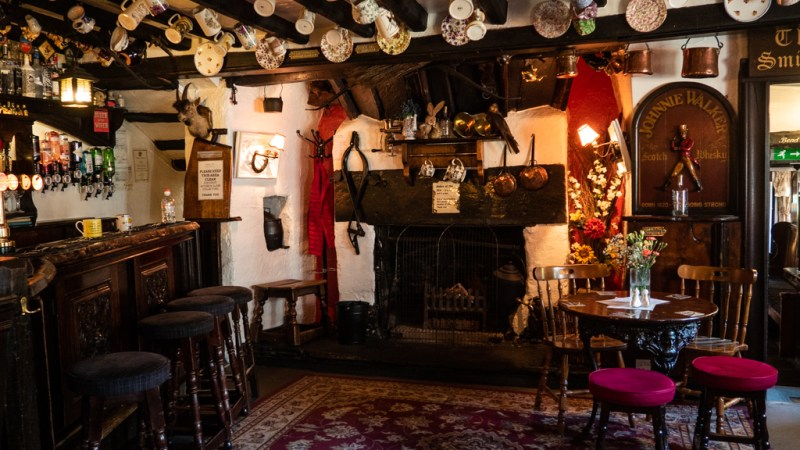 Inside Hole in t' Wall pub in Bowness-On-Windermere in the Lake District, UK