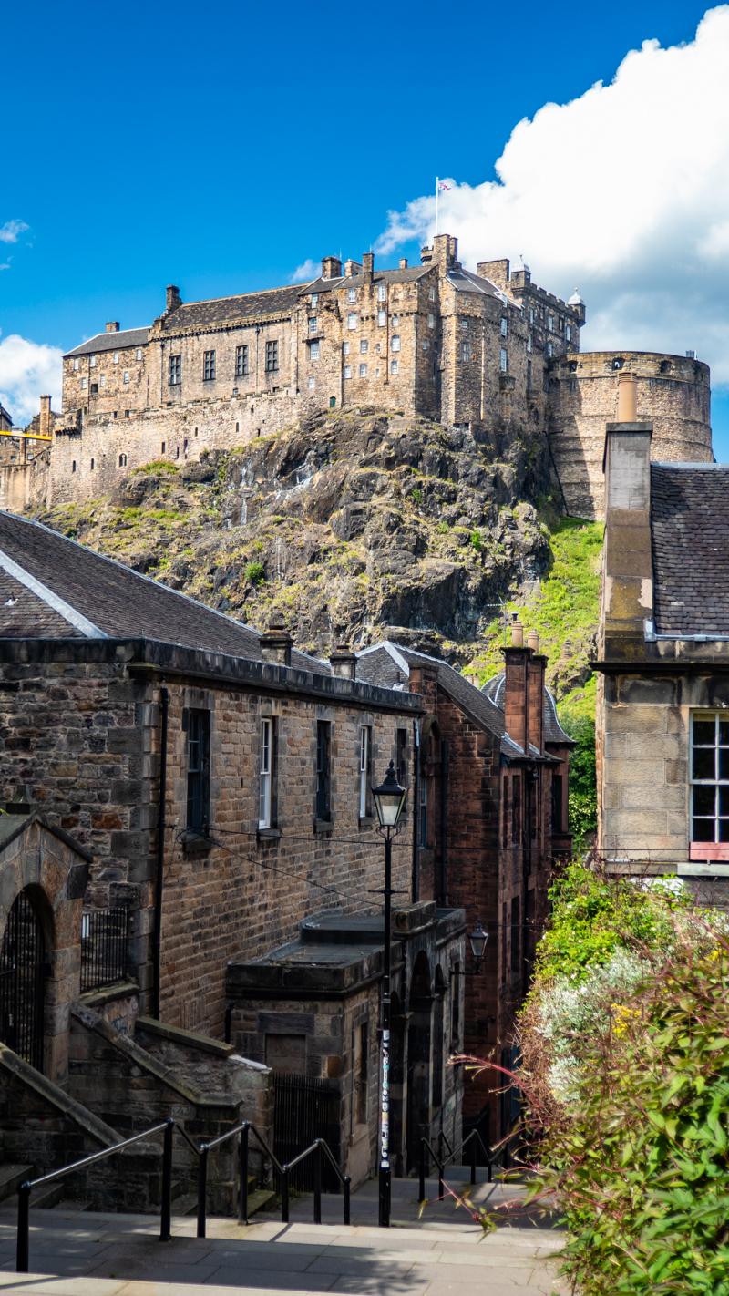 Edinburgh Castle from the Vennel in Edinburgh