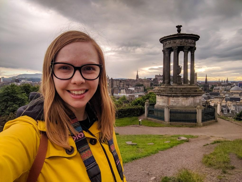 Almost Ginger blog owner at Calton Hill, Edinburgh   3 Days in Edinburgh