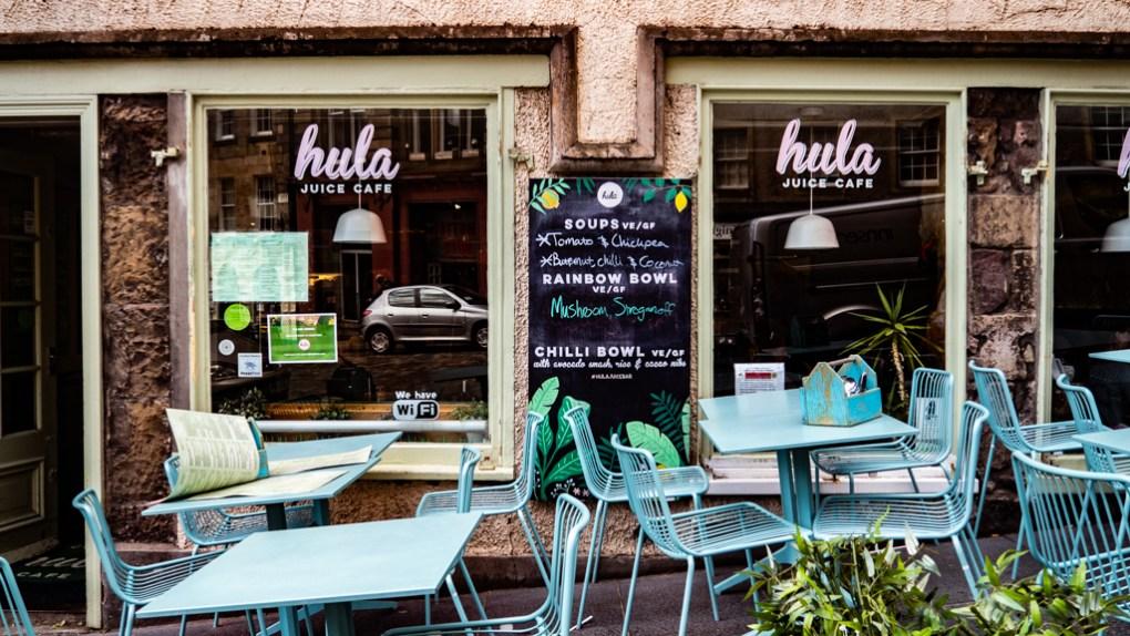 Outside Hula Juice Bar in Edinburgh