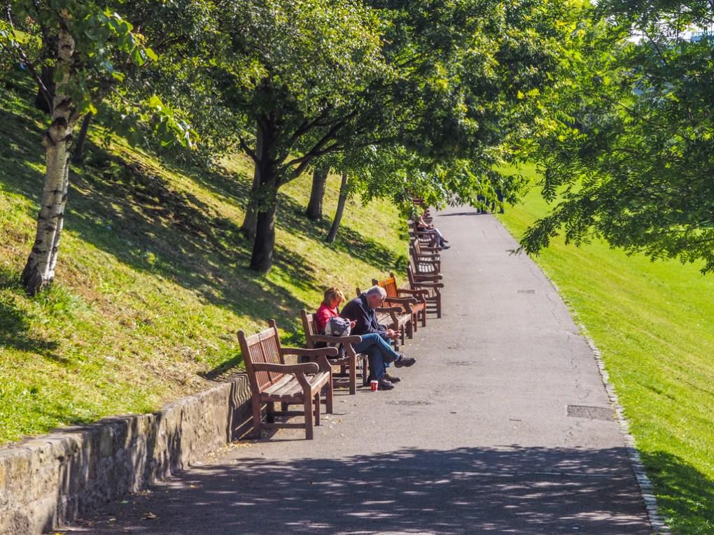 Benches in Princes Street Gardens in Edinburgh   3 Days in Edinburgh