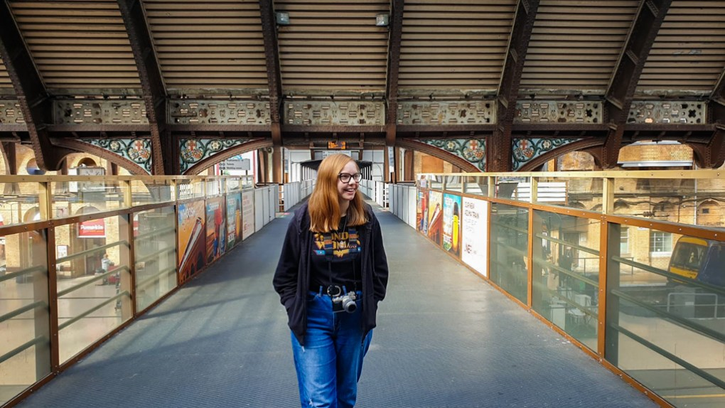 Almost Ginger blog owner at York Train Station, a Harry Potter Filming Location in Yorkshire