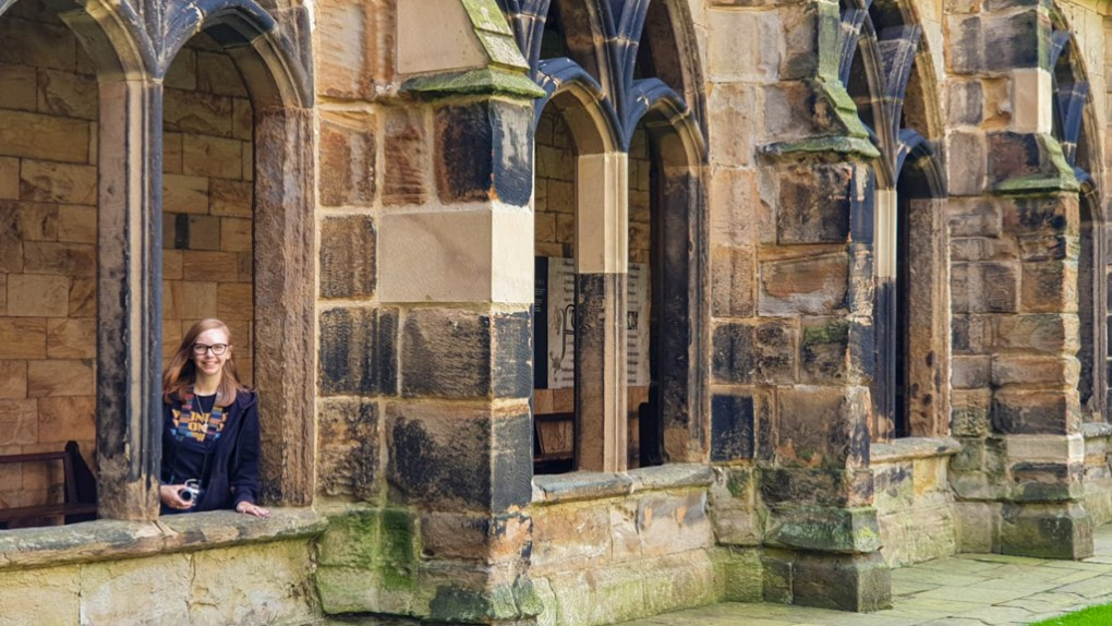 Almost Ginger blog owner at The Cloister at Durham Cathedral, a Harry Potter Filming Location