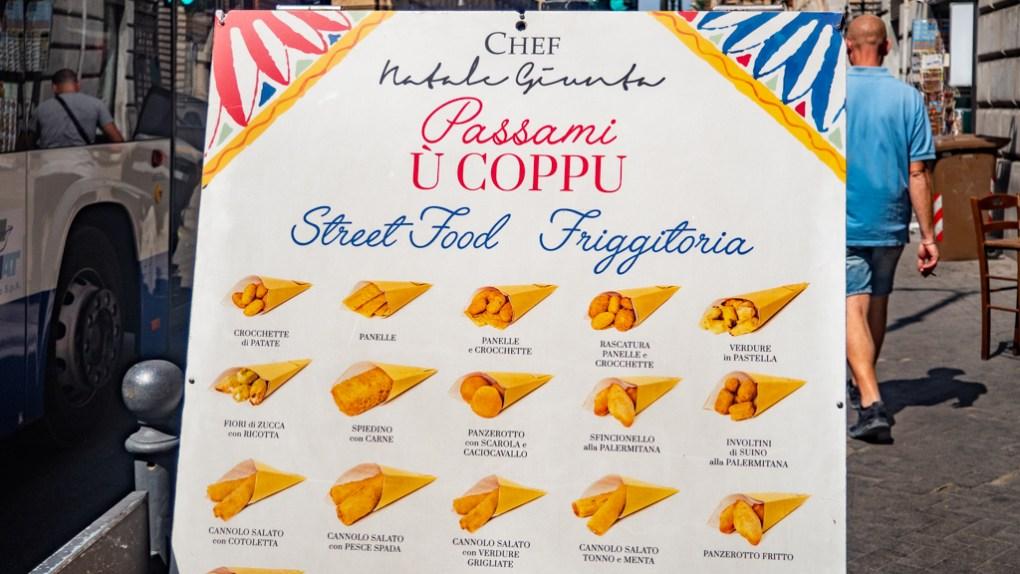 Passami ù Coppu street food menu in Palermo, Sicily