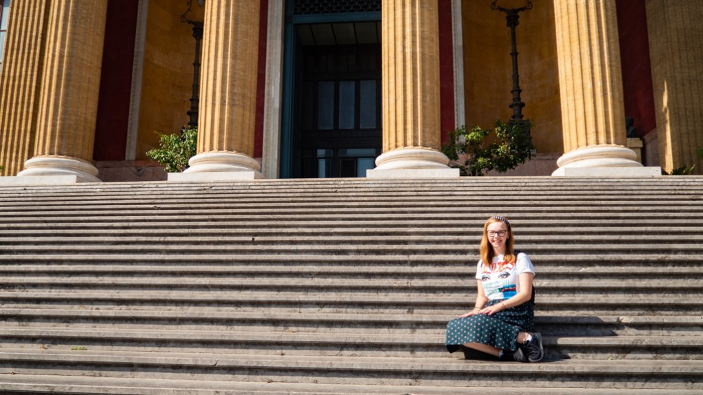 Almost Ginger blog owner outside Teatro Massimo in Palermo, Sicily