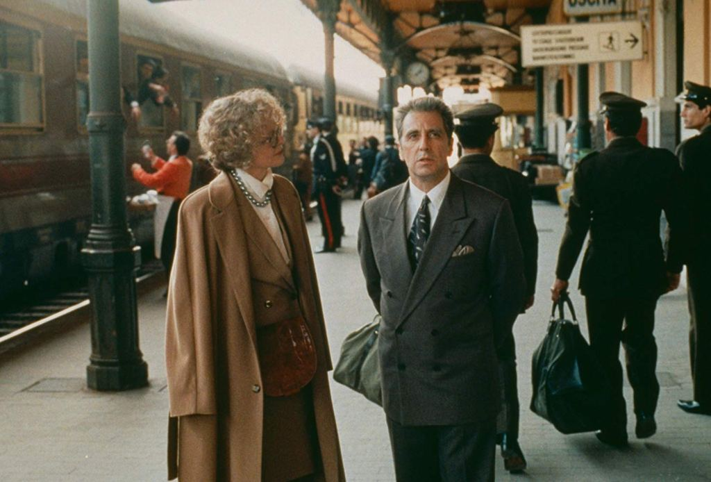 Michael and Kay at Bagheria Station which is Taormina Station, one of The Godfather filming locations in Sicily