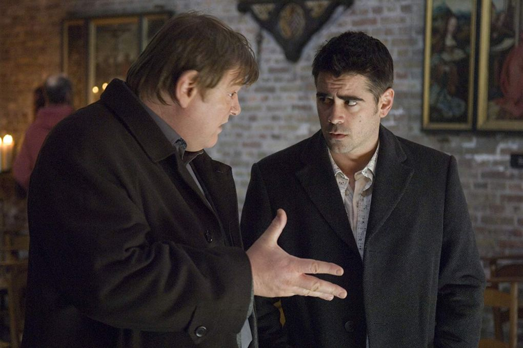 Ken (Brendan Gleeson) and Ray (Colin Farrell) in a church in Bruges, Belgium one of the In Bruges filming locations