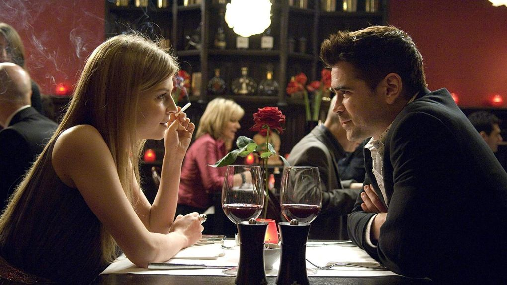 Chloe (Clémence Poésy) and Ray (Colin Farrell) enjoy a meal at Cafedraal in Bruges, Belgium one of the In Bruges filming locations