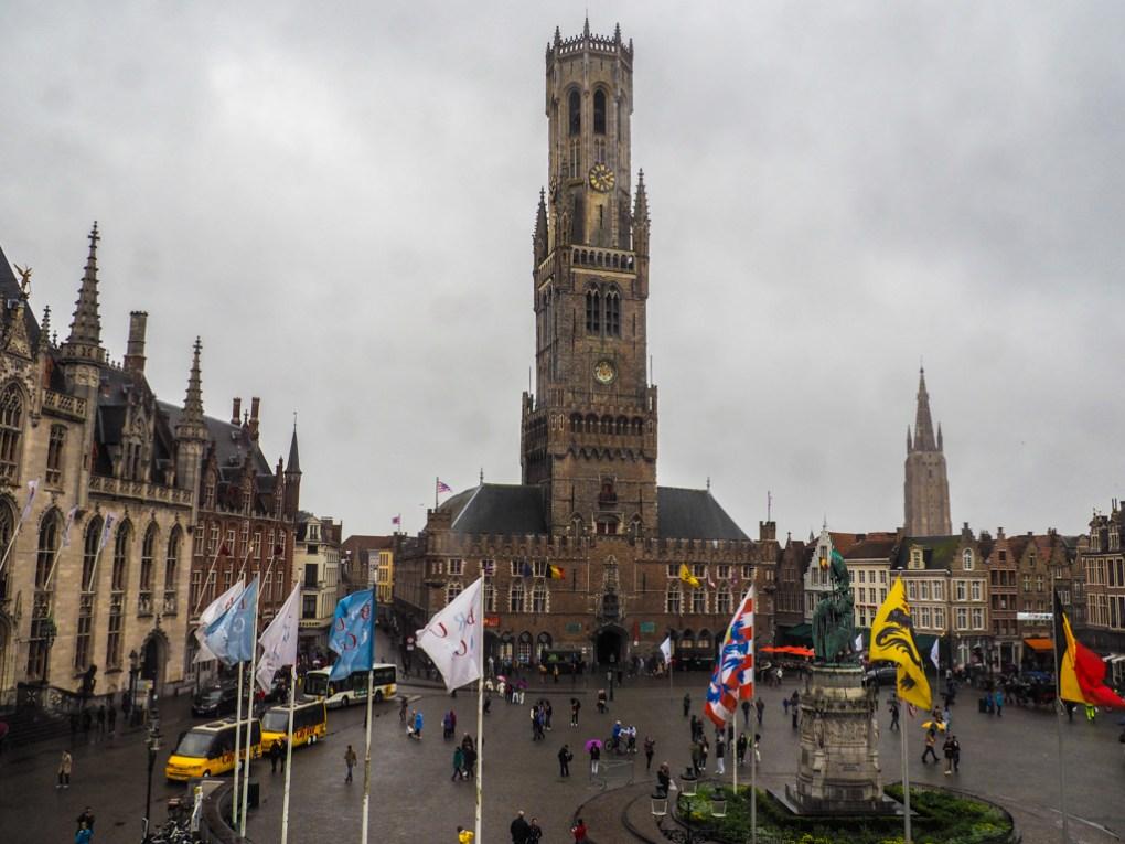 Belfry of Bruges in Central Markt, Belgium
