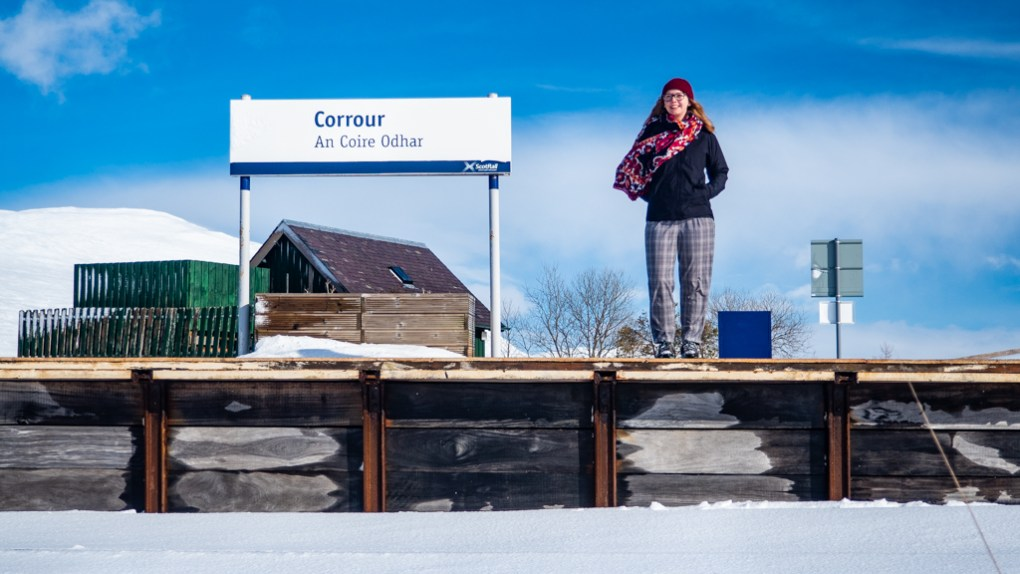 Almost Ginger blog owner at Corrour Station in Scotland