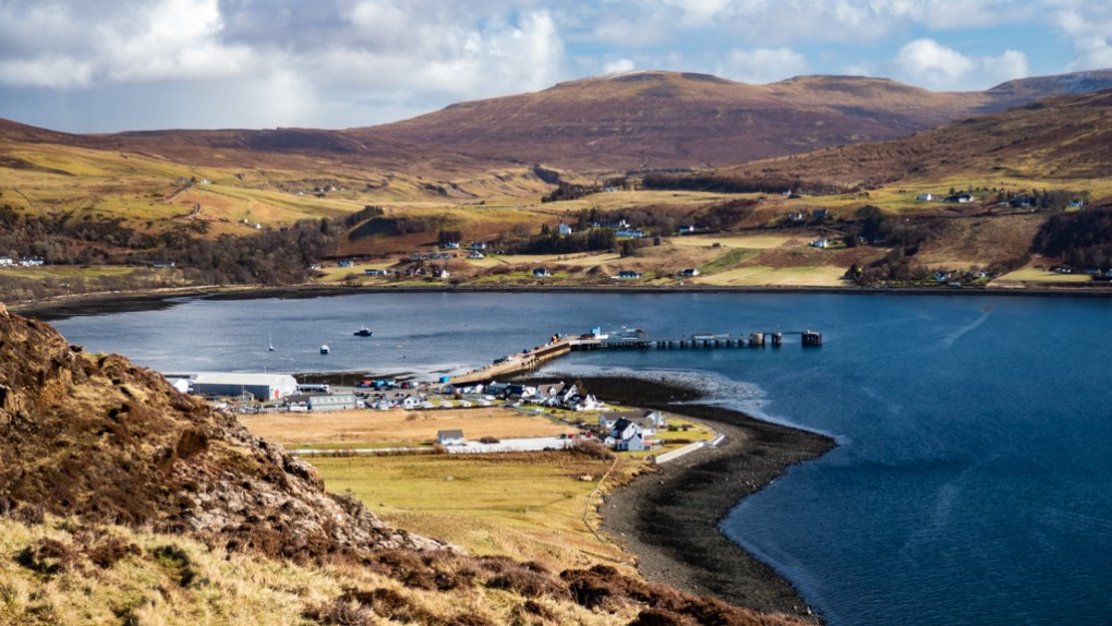 View of the pier from Uif cliff on the Isle of Skye, Scotland
